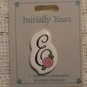 Pretty Vintage Initial E Brooch or Pin w Pink Rose